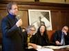 Il presidente della nostra associazione Paolo A. Mettel, l'artista Marco N. Rotelli, il poeta Lian Yang, il sindaco di Pienza Fabrizio Fè