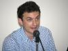"""Yari Bernasconi nel corso della conferenza di presentazione della mostra """"Mario Luzi 1914-2014, Il poeta e i suoi artisti. Memorie di terra toscana"""", al Museo d'Arte di Mendrisio"""
